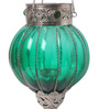Ni Decor Green Metal & Glass Big Rolly Polly  Candle Holders