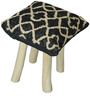 Nicobar Hand-Made Stool in Black & Beige Color by The Rug Republic