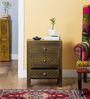 Hiranya Bed Side Table with Brass Repousse Work by Mudramark