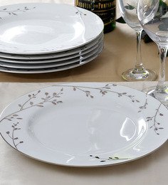 Noritake Birchwood Platinum Porcelain Dinner Plate - Set of 6