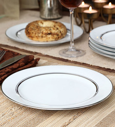 Noritake Gloria White Porcelain Half Plate - Set of 6