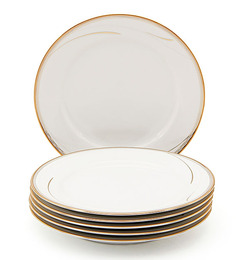 Noritake Golden Breeze White Porcelain Half Plate - Set of 6