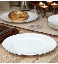 Noritake Platinum White Porcelain Plain Half Plate - Set of 6