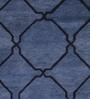 Obeetee Blue & Indigo Wool 96 x 60 Inch Tonal Tile Carpet
