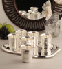 Ojas Charming Silver Plated 250 ML Glasses With Tray - Set Of 6