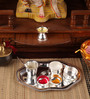 Ojas Silver Plated Stainless Steel German Tray Pooja Set