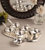 Ojas Solid Rectangle Silver Plated Set of 6 Dessert Bowls With Tray & Spoons