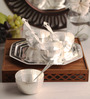 Ojas Solid Round Silver Plated Set of 4 Dessert Bowls With Tray & Spoons