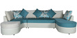 Olivia LHS Sectional Lounger in Teal Colour by HomeTown