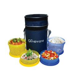 Oliveware Smart Plastic Lunch Box With Bag - Set of 4
