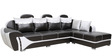 Onyx LHS Sofa in Black & White Leatherette by Sofab