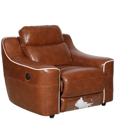 One Seater Automatic Recliner in Brown Colour by Sofab