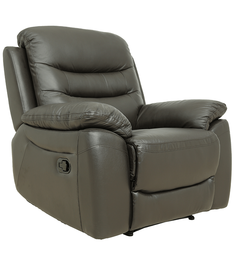One Seater Recliner Sofa in Half Leather Dark Brown Colour by Star India