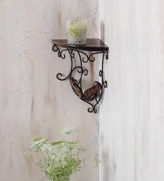 Onlineshoppee Brown Mango Wood Durable & Sturdy Wall Hanging Bracket Shelf