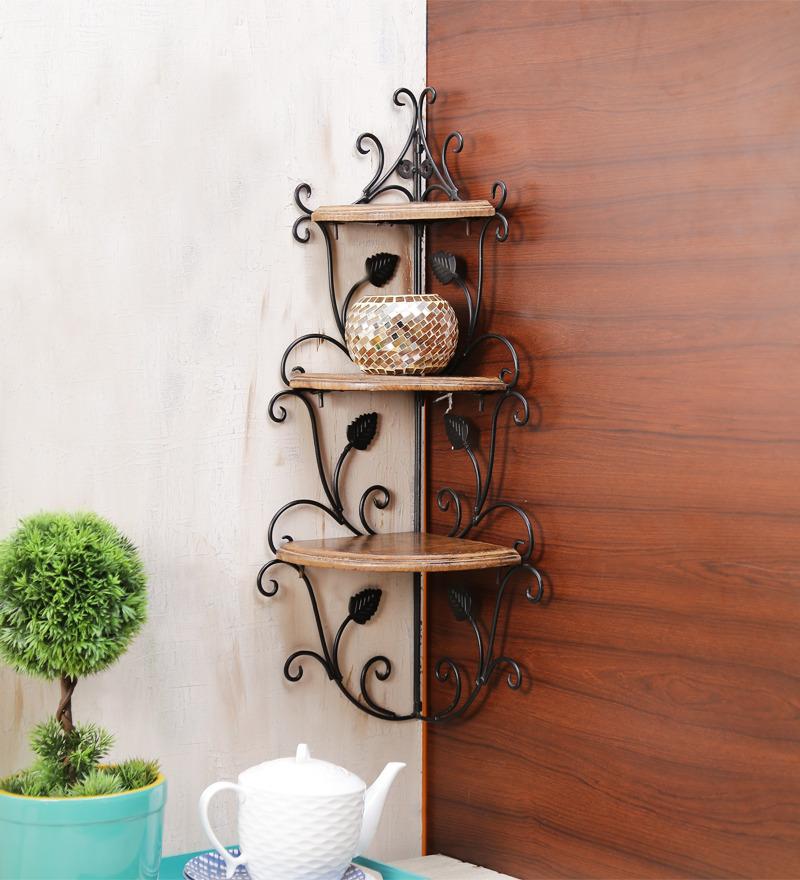 Buy Onlineshoppee Brown Mango Wood Corner Rack Online