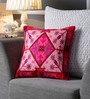 One Good Thing Fuchsia Pink Canvas 16 x 16 Inch Aari-Embroidered Cushion Cover - Set of 2