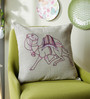 One Good Thing Purple Linen 16 x 16 Inch Dessert Safari Embroidered Cushion Cover