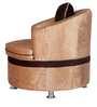 One Seater Sofa in Beige & Brown Velvet by Karigar