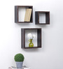 Onlineshoppee Solid Brown Mango Wood Durable Shelf - Set of 3