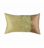 Onset Green & Brown Silk 20 x 12 Inch Floral Cushion Cover