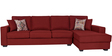 Oritz LHS Three Seater Sofa with Lounger and Throw Cushions in Burnt Sienna Colour by CasaCraft