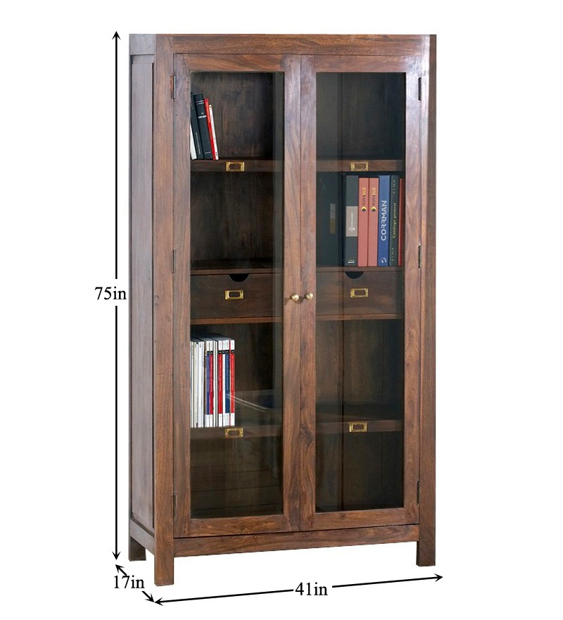 Urban living 2 door 2 drawer glass cabinet by mudra online book shelves furniture Urban home furniture online