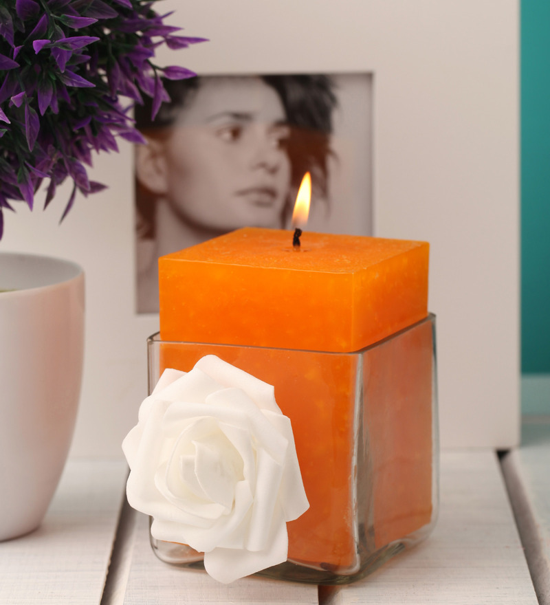 Orlandos Decor Candles Floral Aroma Pillar Candle with Candle Stand