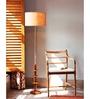 Orange Tree Brown Linen Mudra Floor Lamp