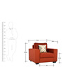 Oritz One Seater Sofa with Throw Cushions in Burnt Sienna Colour by CasaCraft