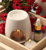 Orlando's Decor Candles White Clay Aroma Diffuser, Lemongrass Oil & 9 T Light Candles