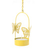 Orlando's Decor Yellow Metal Single Butterfly Hanging Tea Light Holder