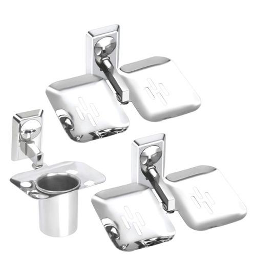 Osian glossy stainless steel 3 piece bathroom accessories for Bathroom accessories set india