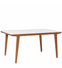 Oscar Modern Six Seater Dining Table in Brown & White Colour by Asian Arts