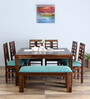 Fallon Eight Seater Dining with Bench in Provincial Teak Finish by Woodsworth
