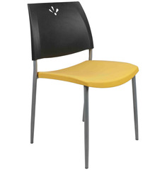 Visitor Plastic Chair in Black & Yellow Colour by Ventura