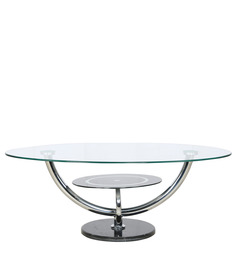 Oval Shape Glass Table with Marble Base by Parin