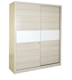 Oyester Sliding Two Door Wardrobe in Oak Finish by HomeTown