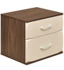 Ozone Two Drawer Night Stand in White & Walnut Colour by @home