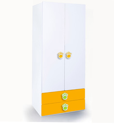 Panda Two Door Wardrobe in Yellow, Green & White Colour by Alex Daisy