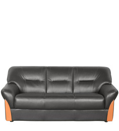Godrej Interio Plunge Three Seater Synthetic Leather Sofa In Black Colour Price In India