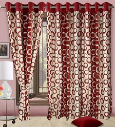 Cortina Precious Maroon Polyester Eyelet Window Curtain- Set of 2