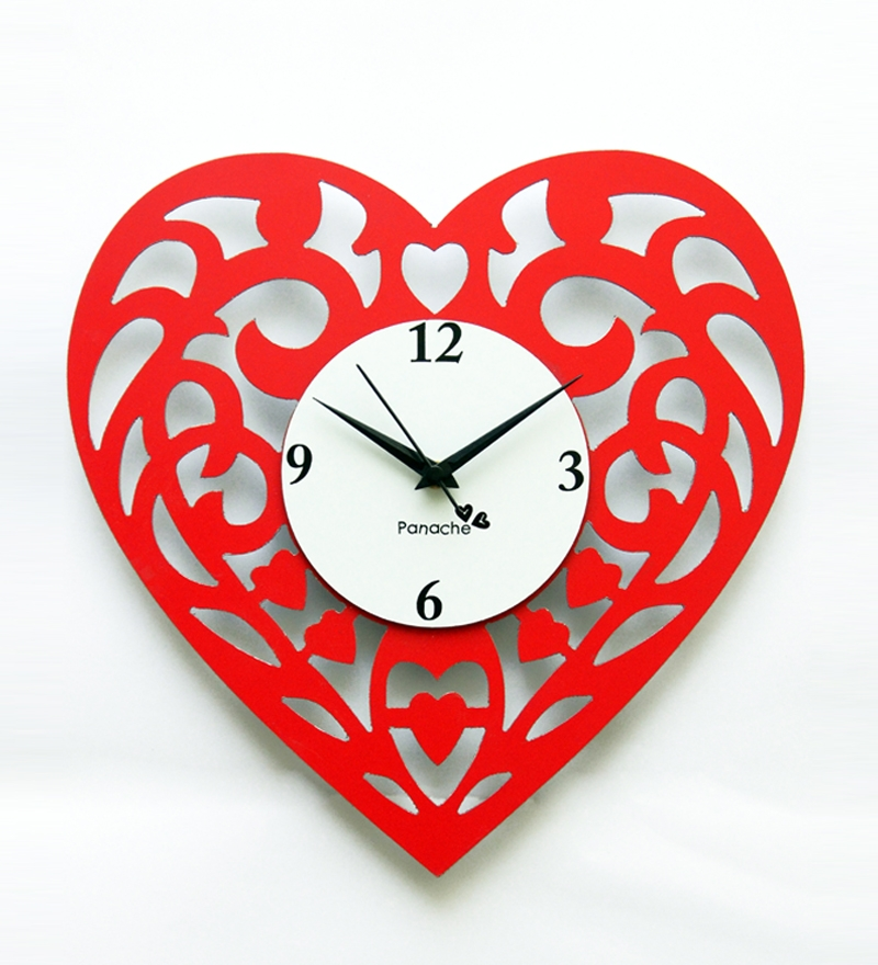 Panache Heart Shaped Wall Clock Red By Panache Online