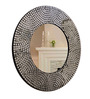 Panash Art Silver Plywood & Glass Handmade Round Decorative Mirror
