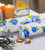 Pannaa Blue and White Cotton Bath and Hand Towel  - Set of 2