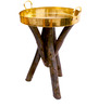 Patal Large End Table in Golden Top by Sahil Sarthak Designs