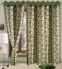 Cortina Precious Green Polyester Eyelet Window Curtain- Set of 2