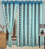 Cortina Blue Polyester Floral Eyelet Window Curtain- Set of 2
