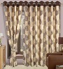 Cortina Precious Beige & Brown Polyester Eyelet Window Curtain- Set of 2