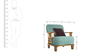Phoenix Sofa Set (3 + 1 + 1) Seater in Teal Natural Colour by Vive
