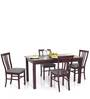 Phoenix Four Seater Dining Table in Semi Glossy Rosewood Color by JFA Touchwood